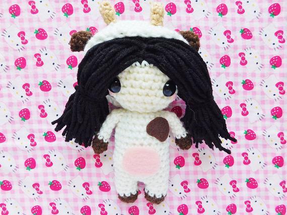 Kawaii Cow Girl Amigurumi Plush Doll