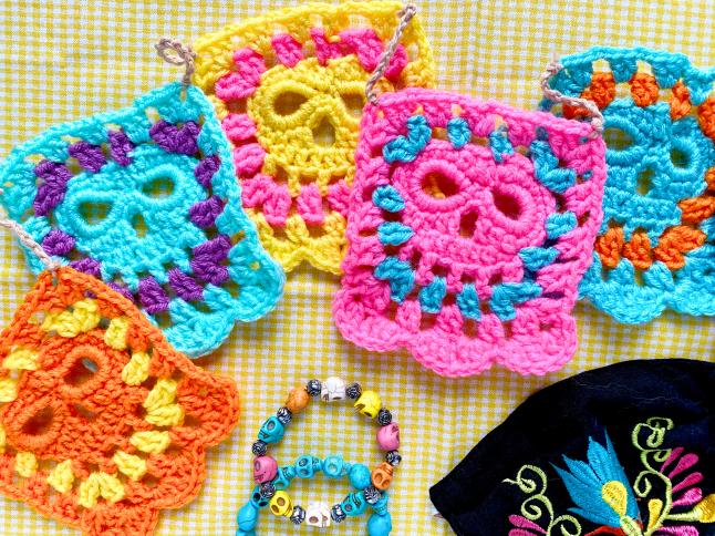Skull Granny Square Garland Crochet Pattern